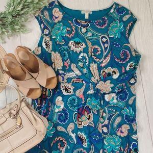 Dana Buchman knit paisley sleevless dress